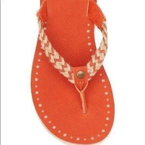 UGG Navie II Orange and Jute Braid Flip Flops NWT
